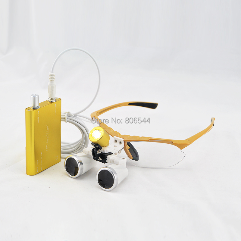 Dental Loupe For Dental Hygiene Medical Binocular Loupes 3.5X Optical Glass Loupe+LED Head Light Lamp gold E6 2pcs pipe diameter 8mm universal dental optical fiber curing light lamp guide rod tip glass led tip black
