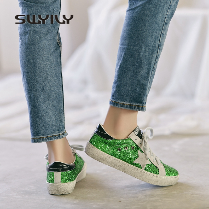 SWYIVY Female Sneakers Sequins Dirty Shoes Girl 2018 New Flat Woman Casual Shoes Sneakers Female Canvas Shoes 40 Star Flats