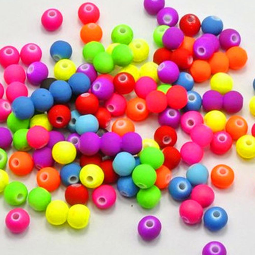 Hot 200PCS 6/8/10MM Mixed Candy Color Acrylic Rubber Beads Neon Matte Round Spacer Loose Beads Jewelry Handmade Necklace DIY(China)