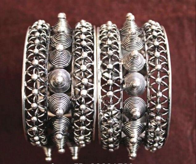 2PC National characteristics Handmade Miao Silver Bracelet  style Fine jewe Noble SHIPPING FREE