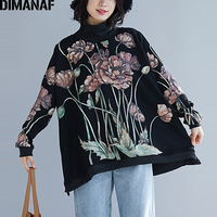 DIMANAF Plus Size Women Hoodies Sweatshirt Winter Pullover Lady Tops Flocking Thick Warm Female Clothes Loose Print Floral Black