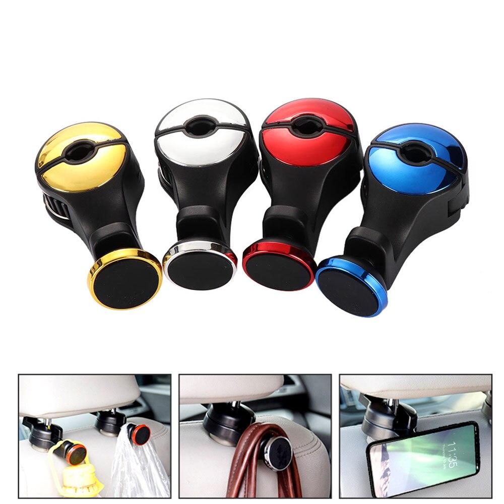 2 Stücke Multifunktions Auto Zurück Sitz Kopfstütze Halter Haken Aufhänger Magnetische Handy Tablet Ständer Montieren Praktische Hell In Farbe