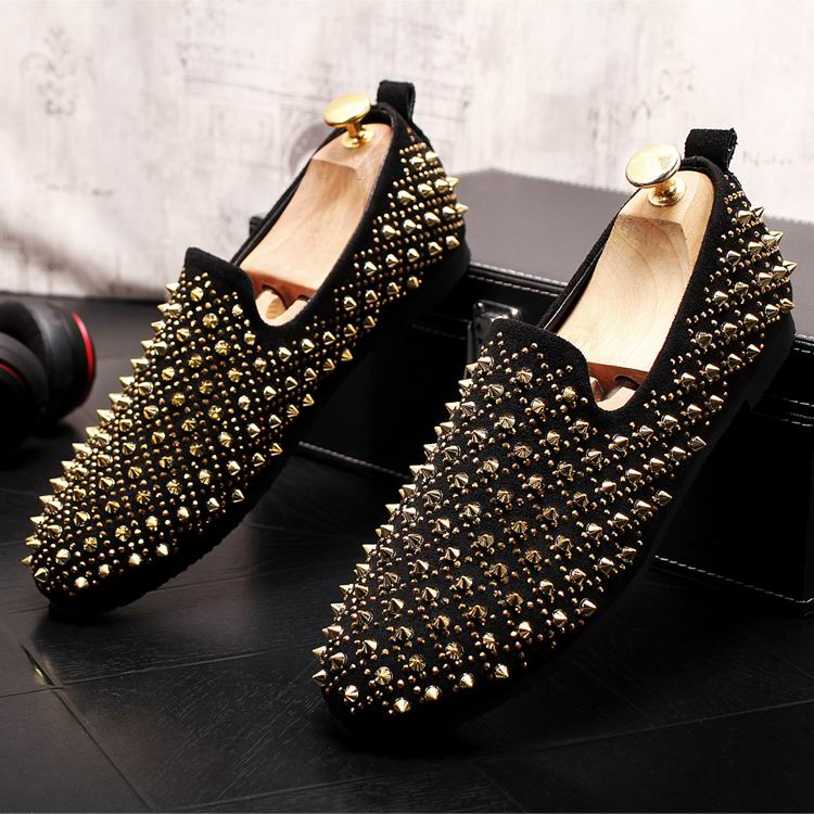 ERRFC New Arrival Men Gold Causal Comfort Loafer Shoes Fashion Rivets Man Boat Shoes British Trending Breathable Slip On Flats 8