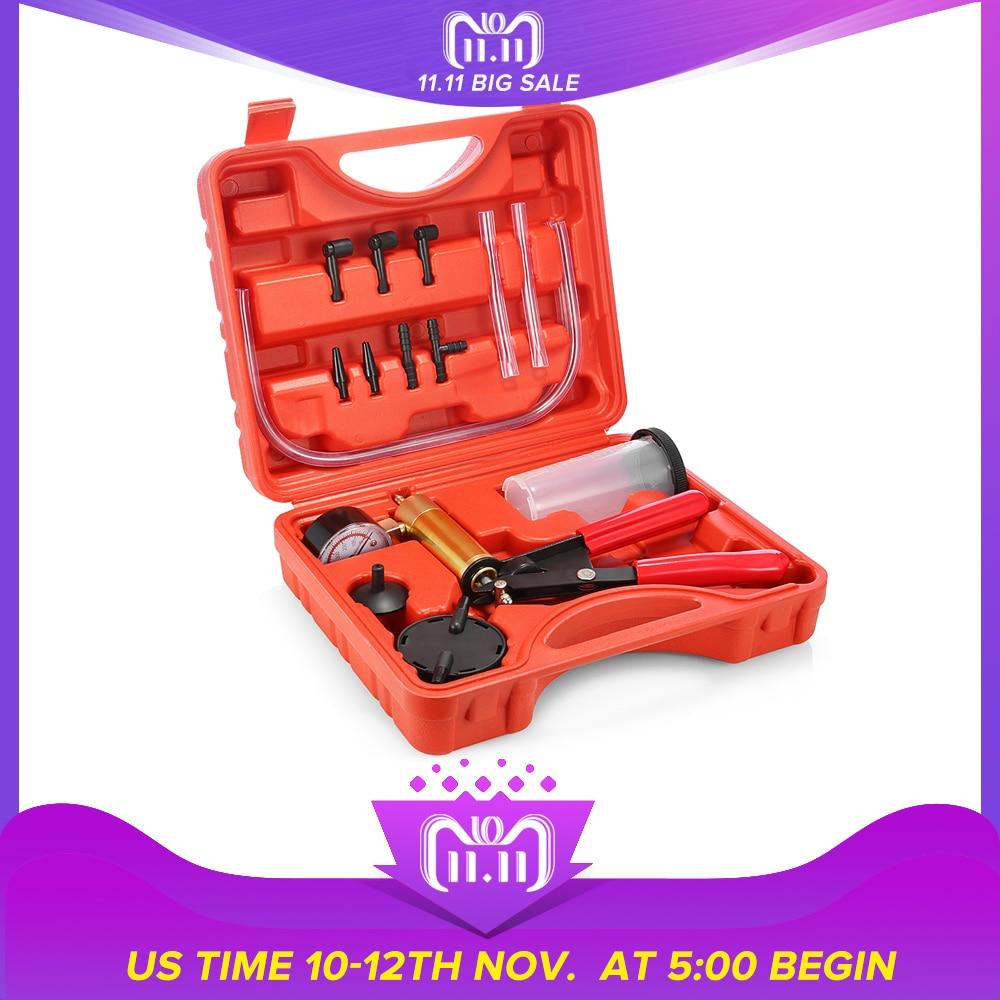 Handheld Vacuum Brake Fluid Bleeder Tools 2 in 1 DIY Brake Fluid Pump Tester Kit Diagnostic Tools for Vehicles 3 Different Tubes vacuum pump inlet filters f006 1 rc2 1 2