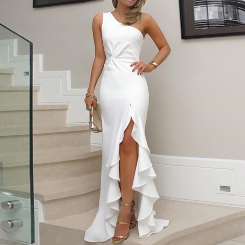 JAYCOSIN 2019 New Summer Women Dress One Shoulder Ruched Ruffle Formal Evening Party Dress Slim Maxi long Dresses vestidos 606(China)