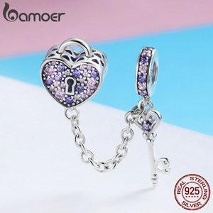Image 4 - BAMOER 100% 925 ayar gümüş anahtar kalp kilit kristal CZ zincir Charms Fit Charm bilezikler & kolye zincir takı SCC772