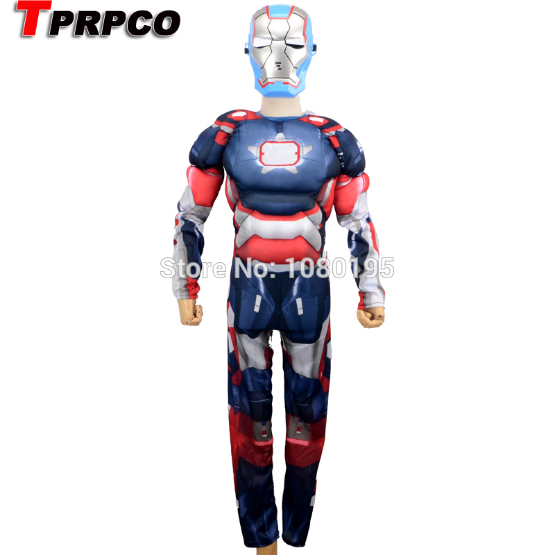 TPRPCO Iron Man 3 Patriot Muscle Child Superhero Halloween Costume Kids Fancy Avengers Superhero Carnival Party Disfrace N1251