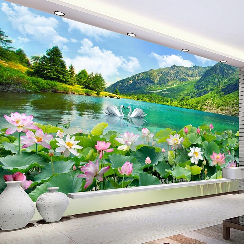 Custom Photo Wallpaper 3D Nature Landscape Swan Lake Murals Living Room TV Sofa Background Wall Cloth Classic Home Decor Fresco