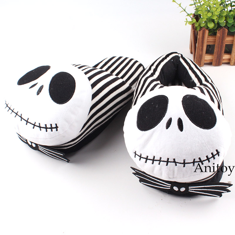 The Nightmare Before Christmas Jack Skellington Plush Shoes Home House Winter Slippers For Women Men Stuffed Toys 28cm