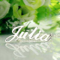 Freeshipping Nameplate Necklace JULIA Style Silver Name Necklace Initial Necklace Personalized Jewelry