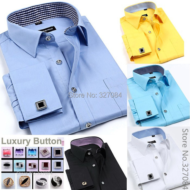 Fashion mens cufflink shirts High Quality long sleeve french cuff dress shirt Boss men Cufflinks free Plus size 4XL