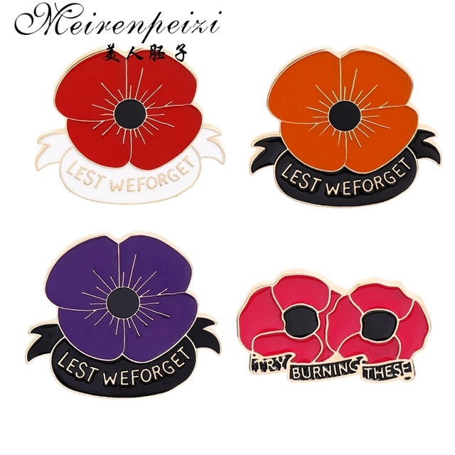 Meirenpeizi Red Poppy Pin Remembrance Sunday Brooch Veterans Day