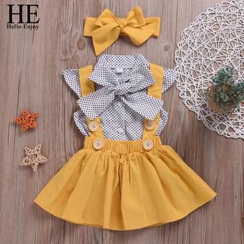 HE Hello Enjoy Girls Clothing Sets Girl Polka Dot Bowknot sleeveless Tops Suspender Princess Skirt Baby Girls Suits Kids Clothes 1