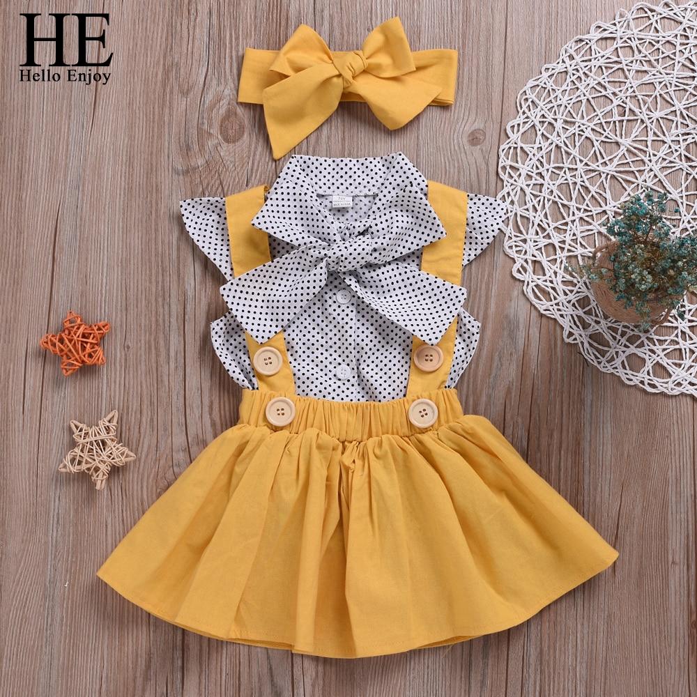 HE Hello Enjoy Girls Clothing Sets Girl Polka Dot Bowknot sleeveless Tops Suspender Princess Skirt Baby Girls Suits Kids Clothes