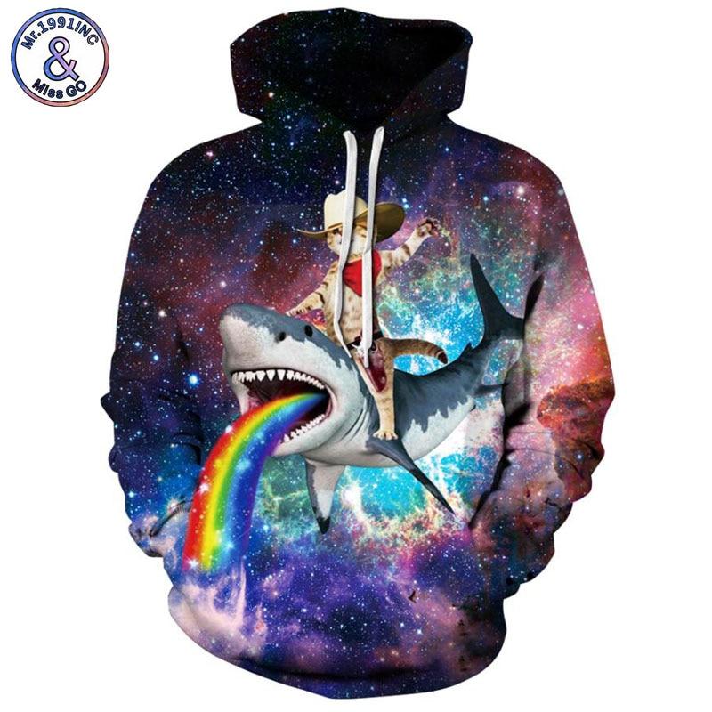 Mr.1991INC 2018 new starry sky shark print 3d Sweatshirts Men/women hoodie sweatshirt Casual Hooded Pullovers Men Hoodies M250