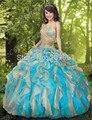 Ball vestido Azul Vestidos Quinceanera 2016 Organza Querida Ruffles Sweet16 Vestido Doce 15 Vestidos Vestidos de 15 ST001QU