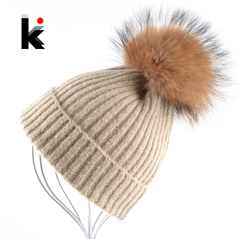 Women Beanies Raccoon Fur Pom Poms Wool Hat Beanie Knitted Skullies Fashion Caps Ladies Knit Cap Winter Hats For Women Bonnet autumn winter beanie fur hat knitted wool cap with silver fox fur pompom skullies caps ladies knit winter hats for women beanies