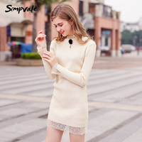 SIMPVALE Fur Ball Decor Slim Bottoming Knitted Min Dress Women Lace Patchwork Elastic Knitwear Female Half