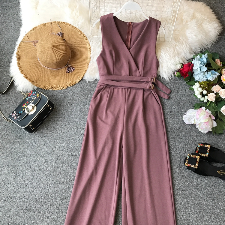 ALPHALMODA 2019 Spring Ladies Sleeveless Solid Jumpsuits V-neck High Waist Sashes Women Casual Wide Leg Rompers 17
