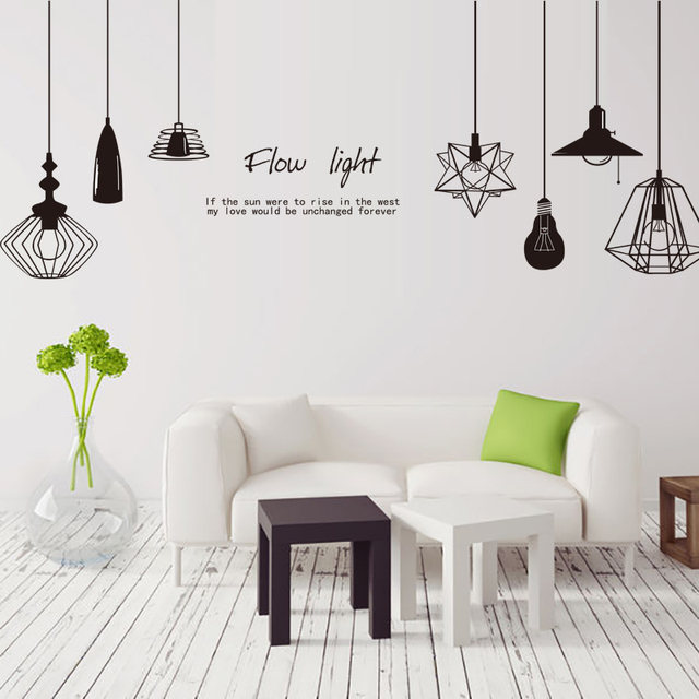 shijuehezi] black chandelier wall sticker vinyl diy wall lamp