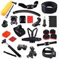 Set Kit 14 En 1 Bobber Casco Cabeza Cinturón de Arnés de Pecho monopod monte correa para gopro hero2 3 3 + 4 sj4000 cámara accesorios