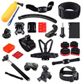 Set Kit 14 In 1 Bobber Helmet Harness Chest Belt Head Mount Strap Monopod For GoPro Hero2 3 3+ 4 SJ4000 Camera Accessories