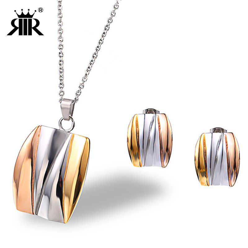 RIR Fashion Square Jewelry Sets Stainless Steel Wedding Engagement Charm Square Chain Necklace And Stud Earrings For Bride Women