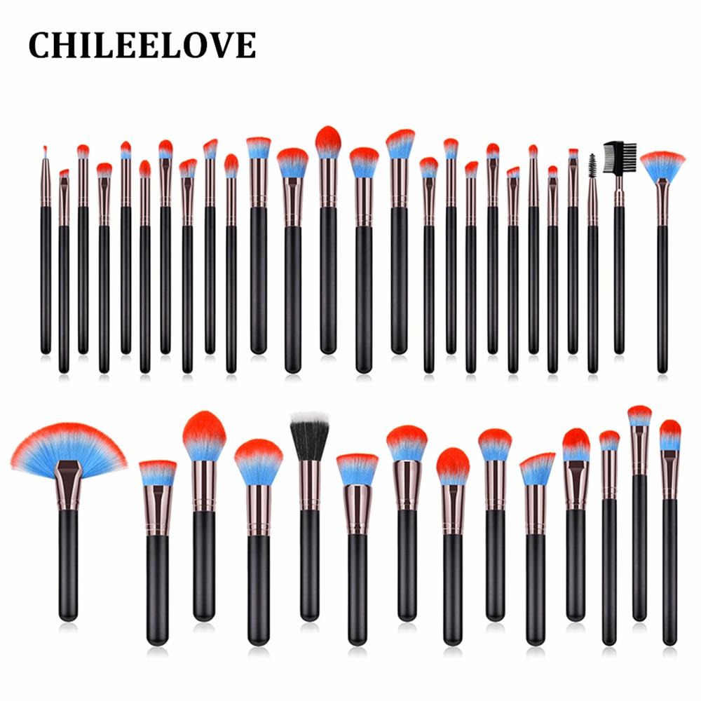 CHILEELOVE Kit de pinceaux de maquillage 40 pièces/ensemble cheveux bleu rouge manche en bois de haute qualité cheveux en Nylon