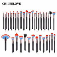 CHILEELOVE 40 Pcs/Set Makeup Brushes Kit Red Blue Hair High Quality Wooden Handle Nylon Hair