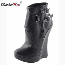 Wonderheel New matt leather extreme high heel 18cm with 3cm platform wedge ankle boots short boots sexy boots with buckles(China)