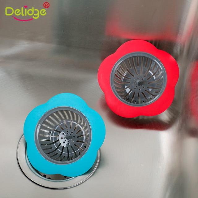 Delidge 1 Pc A Forma di Fiore Del Silicone Sink Strainer Doccia Scarichi Bagno C