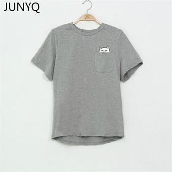 2018 Summer T-shirt Women Casual Lady Top Tees Cotton Tshirt Female Brand Clothing T Shirt Printed Pocket Cat Top Cute Tee S-4XL