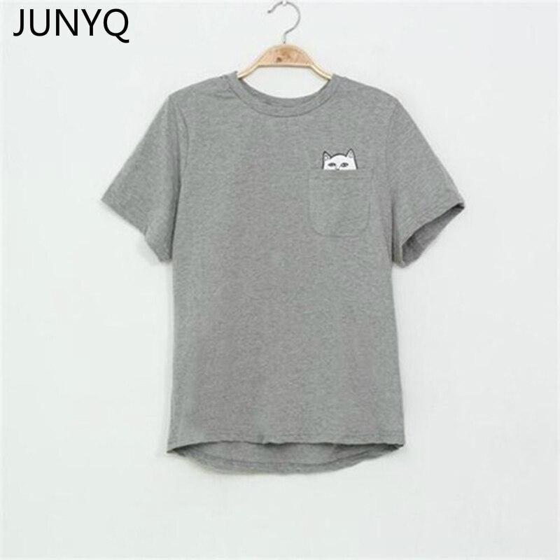 2018 T-shirt do Verão Mulheres Senhora Casual Top Tees Camiseta de Algodão Feminino Camiseta Roupas de marca Impressa Bolso Do Gato Top T Bonito S-4XL