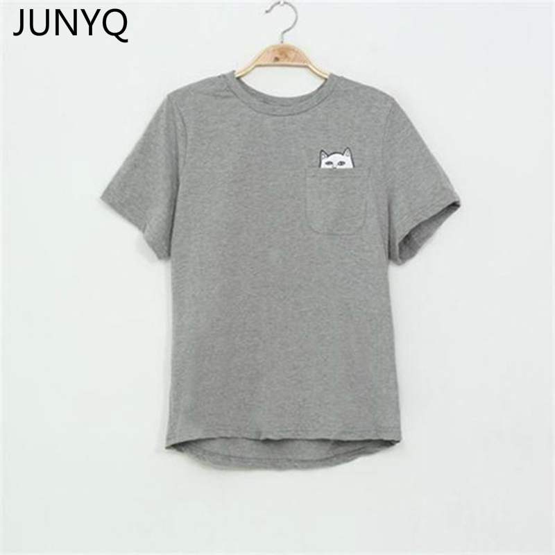 2018 camiseta de verano para mujer Casual Lady Top camisetas moda camiseta mujer marca ropa camiseta impresa bolsillo gato camiseta Linda S-4XL