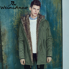 WEINIANUO Brand Clothing Men's Winter Warm Coats Fashion Thicken Jackets Stand Fur Collar Hoody Long Parkas For Men Jackets 115