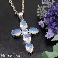 Belle Sainte-Croix Blanc Opale 925 Sterling Argent Glorieux Femmes Pendentif Collier Bijoux 2 5/8 POUCES TF231