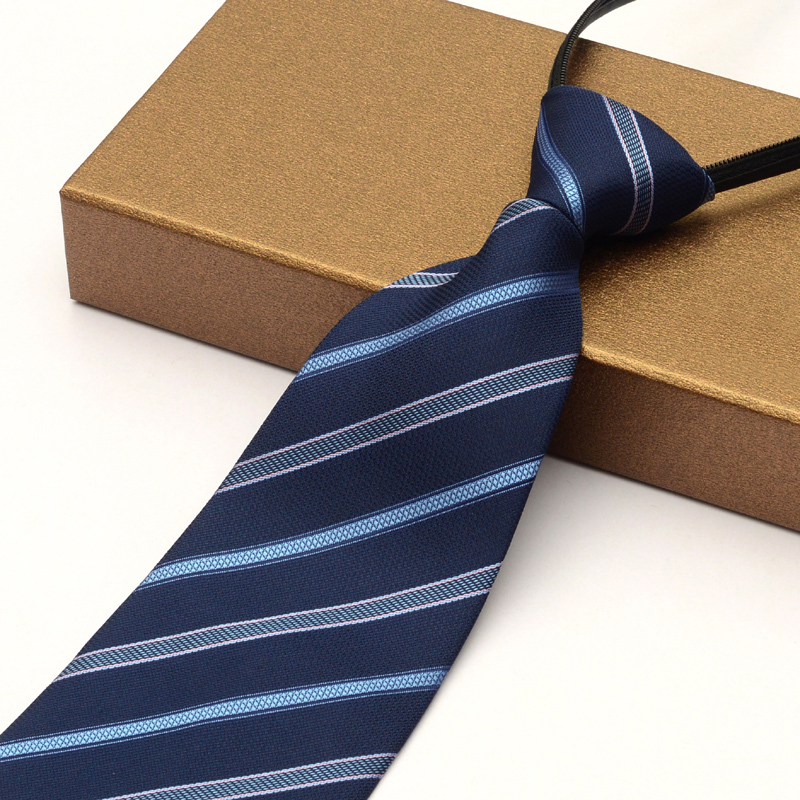 2018 New Arrivals Zipper Ties for Men 10cm Big Necktie Blue Striped Fashion Apparel Tie Cravats for Business Office Formal Work