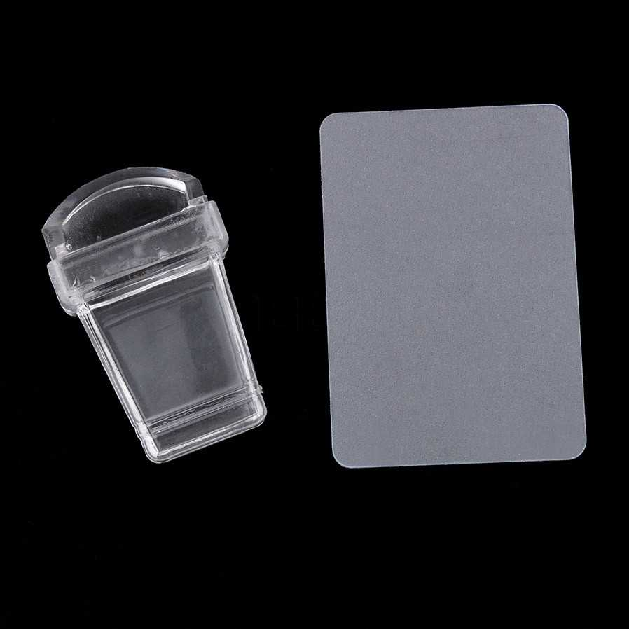 Estampadora de uñas plantillas de Arte de uñas sellos de jalea transparente arte de uñas Stamper rascador Set placa transparente esmalte impreso uñas Stampi
