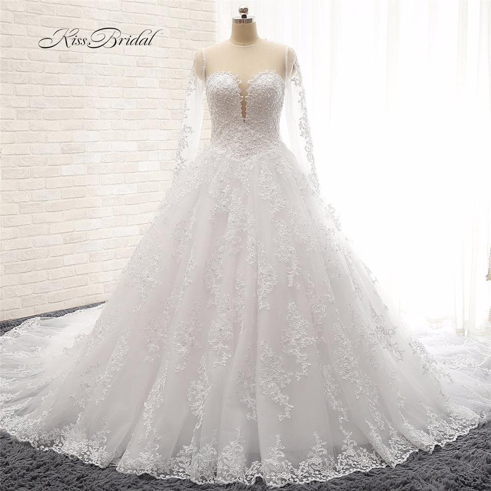 vestito sposa Newest Design Long Sleeve A line Wedding Dresses 2018 Illusion Neckline Long Trains Bridal Gown