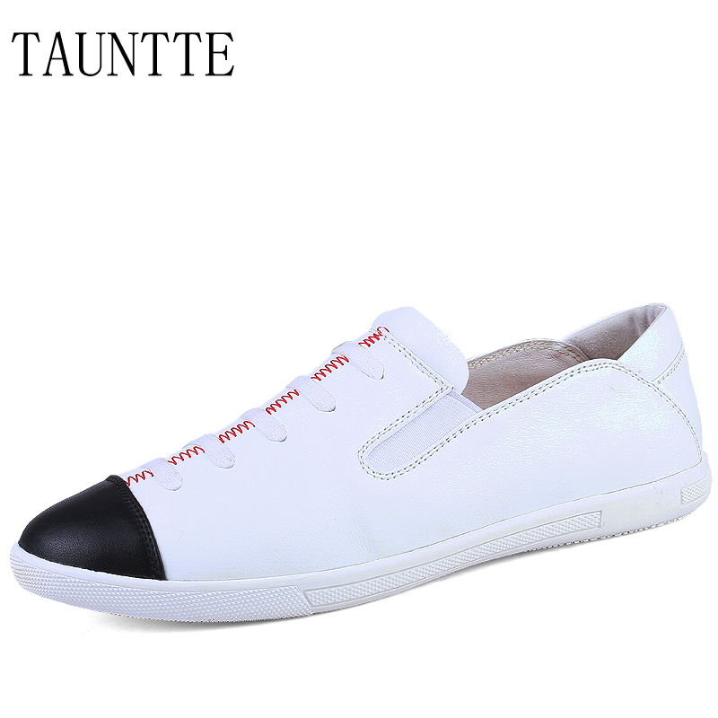 Tauntte Summer Fashion Genuine Leather Men Shoes Korean Breathable Slip On Casual Shoes branded men s penny loafes casual men s full grain leather emboss crocodile boat shoes slip on breathable moccasin driving shoes