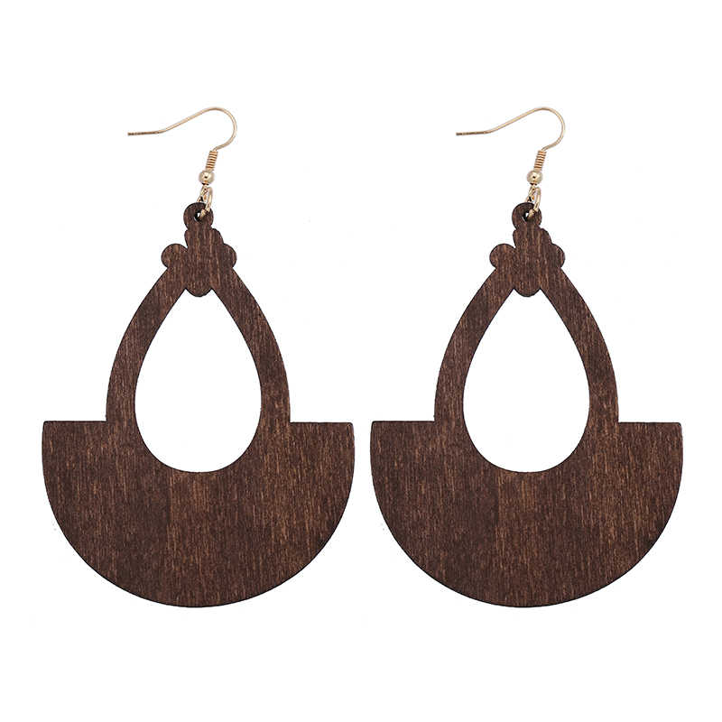 YULUCH 2018 Ethnic Natural African Wooden Jewelry Hollow Drop Pendant for Personality Fashion Woman Jewelry Earrings Gift