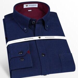 Image 4 - Męska bawełniana koszula z długimi rękawami, Oxford, sukienka w kratę, przednia kieszeń, wysokiej jakości, eleganckie, codzienne, dopasowane koszule z guzikami