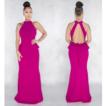 Rose Red Backless Maxi Dress Women Sexy O Neck Hollow Out Bodycon Evening Party Dresses Elegant Long Vestidos Female Robe цена и фото