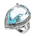 Huge Aquamarine With Multi White Simulated Sapphire 925 Sterling Silver Ring Factory price For Women Size 6 7 8 9 10 11 F1498