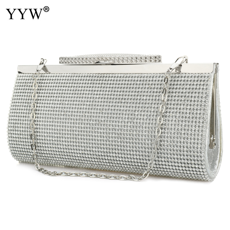 Diamond Silver Clutches Long hand Bag Gold Ladies Rhinestone Evening Bag Chain Shoulder Bag Party Banquet Evening Clutch Bags newest design evening bags ring diamond clutch chain shoulder bag purses wedding party banquet bag blue gold green red 88621 d