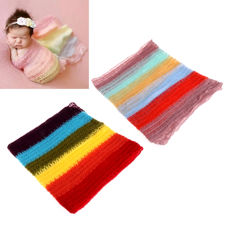 Newborn Photography Baby Knit Rainbow Mohair Wrap Backdrop Blanket Photo Props -B116