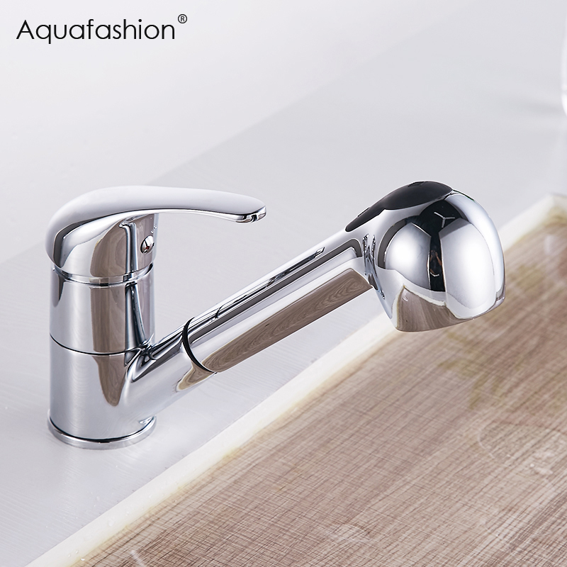 Kitchen Faucets 360 Degree Swivel Pull Out Kitchen Sink Faucet Water-Saving Polished Chrome Black Basin Crane Brass Mixer Tap ydl f 0506 kitchen brass sink basin mixer tap chrome spray swivel faucet silver black