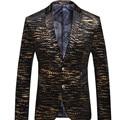 Rússia EUA Erope Estilo Inglaterra Homens Verão Terno Terno Dos Homens de Negócios de Impressão Padrão Ouro Domineering Personalidade Blazers Steewear