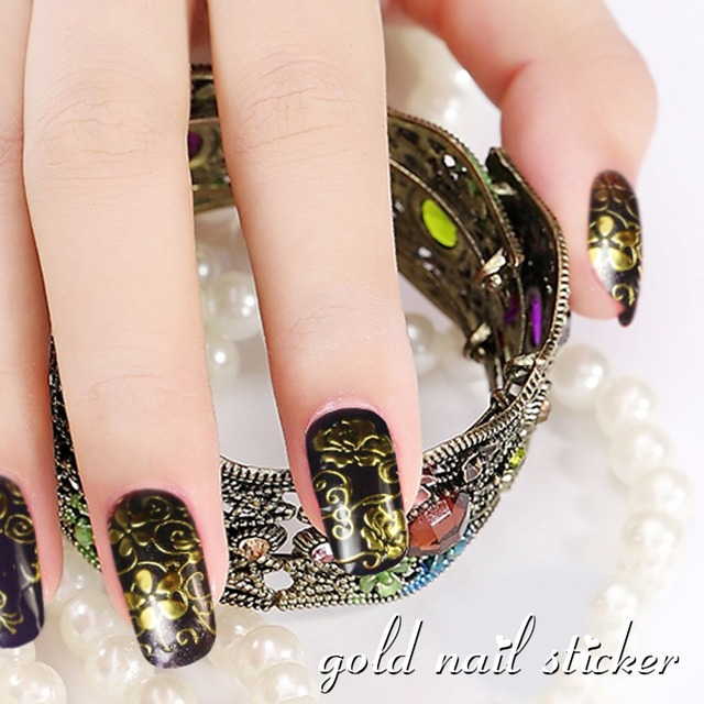 100% Brand New Hot Sale Golden DIY 3D Nail Stickers Nail Art Unique ...