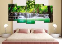 5 Panels Wall Art 5 Panels Wall Art Green Tropical Waterfall Painting Canvas Room Decor Print Poster Unframed